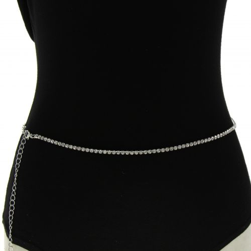 Woman's Lady Fashion Metal Chain Style Belt with strass, body chain jewel, ENEA
