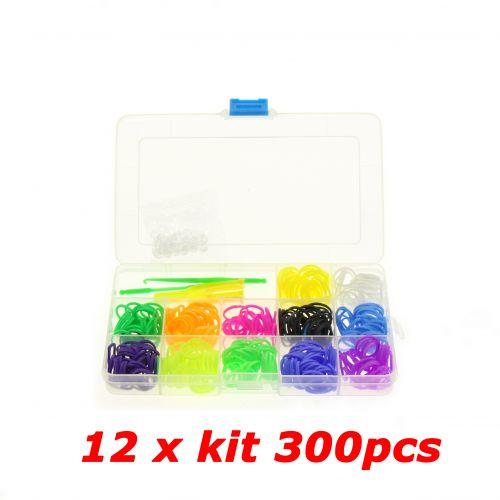 12 x Kit de creation de bracelet 300 élastique compatible Rainbow loom