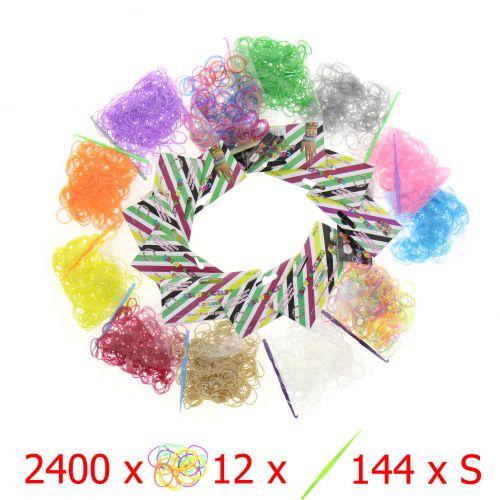 Lotto 2400 elastiche + 12 + 144 S ganci clip - Loom
