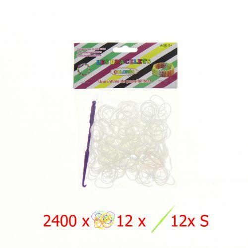 Lot de 2400 élastiques + 12 crochets + 144 Clips S - Pour métier à tisser