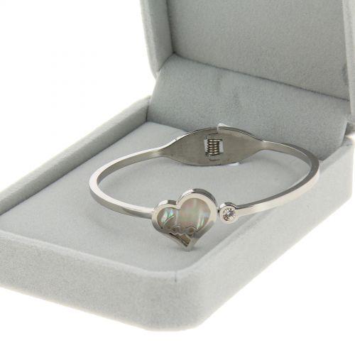 Bracelet acier inoxydable coeur et nacre, LINALIE, premium