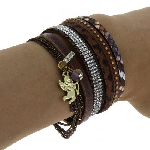 Bracelet manchette panthère et Ange, SASKIA