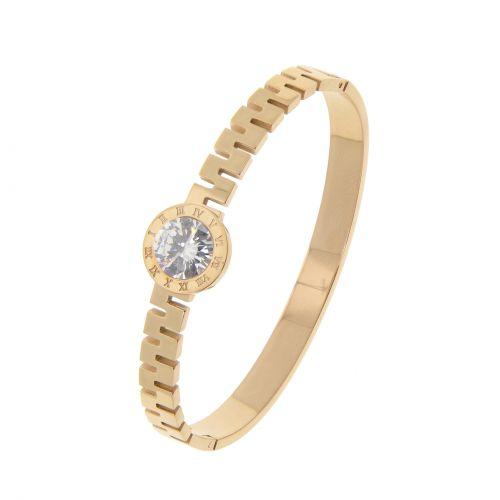 Zirconium crystal Stainless steel bracelet, BERTIE