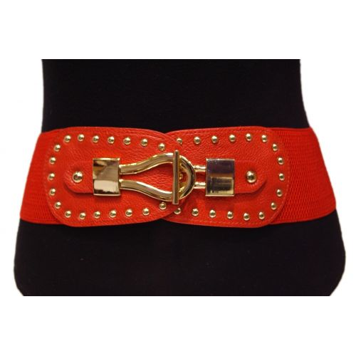 Wide studded elastic belt, FELICIANE