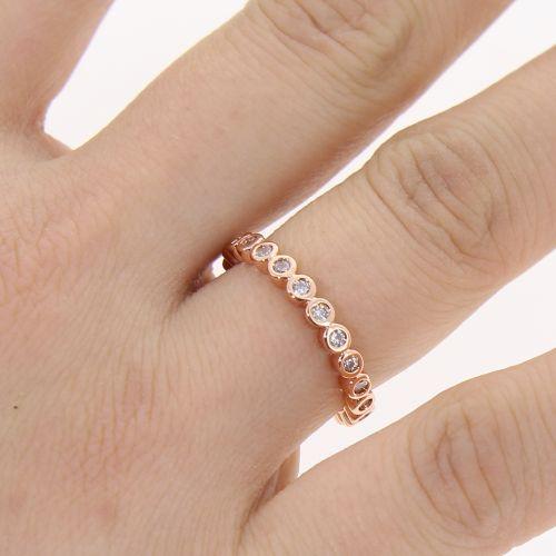 Copper Ring Rhinestone zirconium crystal golden with gold, WELINA