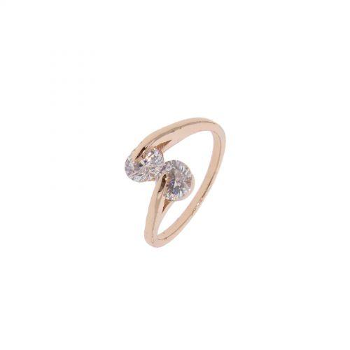 Bague cuivre à strass, cristal de zirconium doré à l'or EYLINE