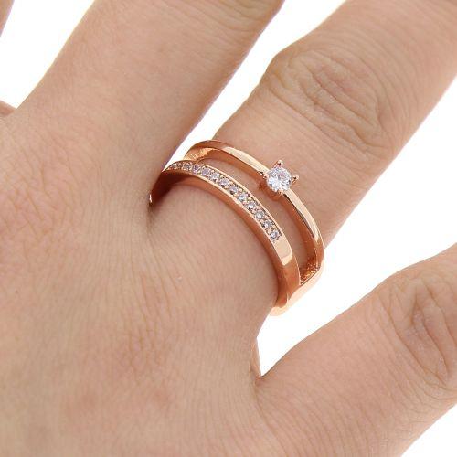 Bague cuivre à strass, cristal de zirconium doré à l'or MILLA