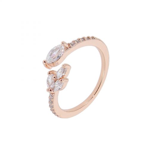 Copper Ring Rhinestone zirconium crystal golden with gold, LUMI