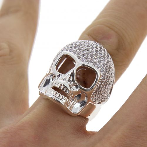 SKULL zirconium rhinestone Copper ring golden with gold, ONA