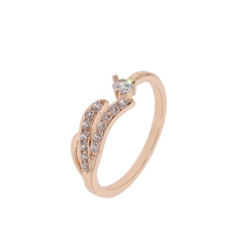 Copper Ring Wing zirconium crystal golden with gold, KAYLINE