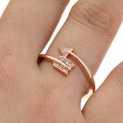 Bague flèche en cuivre doré à l'or à cristal de zirconium, LYLIA