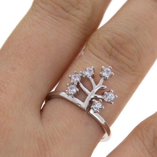 Life tree zirconium crystal copper woman ring, ESILA