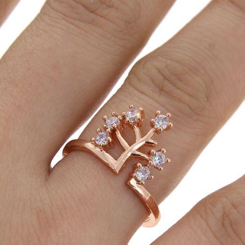 zirconium rhinestone Copper ring golden with gold, ESILA