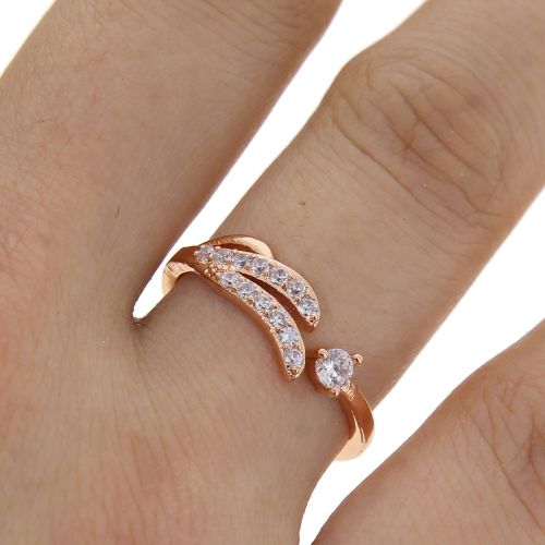 Wing zirconium rhinestone Copper ring golden with gold, KAYLINE