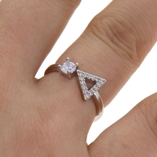 Copper Ring zirconium crystal golden with gold, SIDONIE