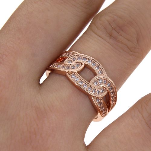 zirconium rhinestone Copper ring golden with gold, ODELIA