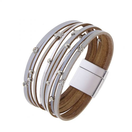 Bracelet cuff multi row leather star NABI