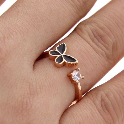 Bague papillon, en cuivre doré à l'or à cristal de zirconium, FLORINA