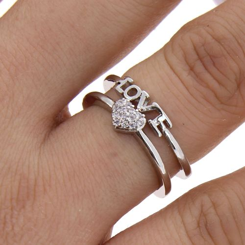 love and heart zirconium rhinestone Copper ring golden with gold, LILOUBELLE