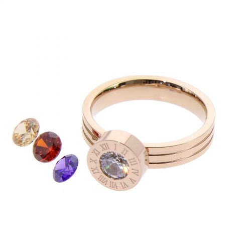 Ring stainless steel, 4 interchangeable rhinestone, OYA