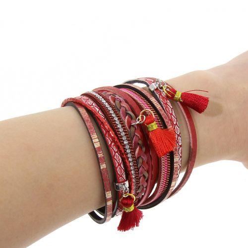 Bracelet cuff multirank braid pompon leatherette LIVIA