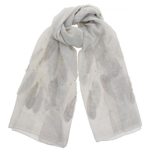 Echarpe femme douce imitation coton à Plumes, LALA bc32cfa5df5