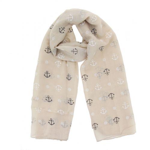 Echarpe femme imitation coton, thème Marin, LISON