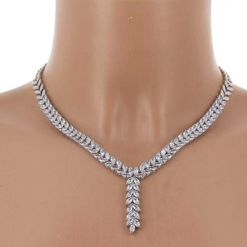Parrure Collier et Boucles d'oreilles femme Cristal de Zirconium Swarovski doré à l'OR, VERA