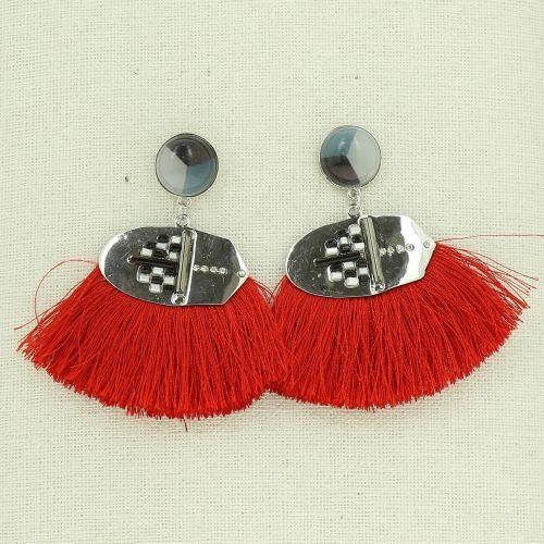 Boucles d'oreilles à pompons frange GEORGETTE