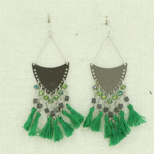Hanging fringed tassel earrings, MARGAUX