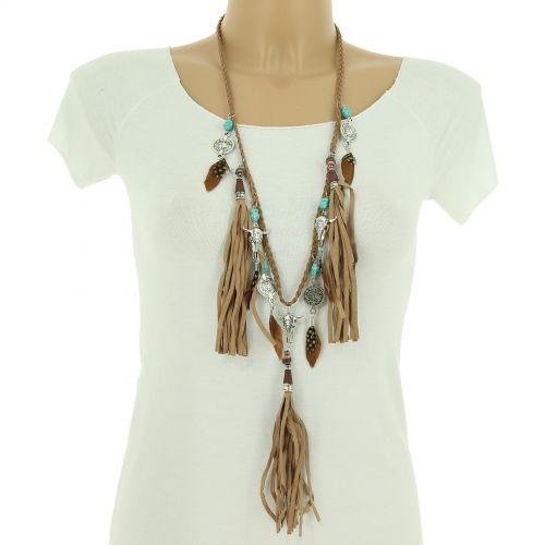"Long necklace 80 cm ""Buddha head"" MARGOT"
