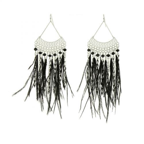 Long feather earrings, SURIC