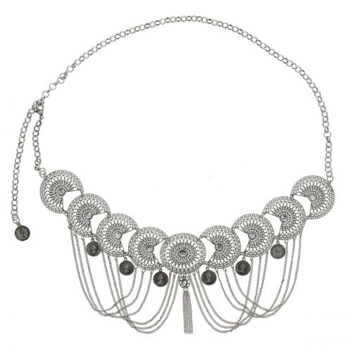 Woman's Lady Fashion Metal Chain Style Belt with strass, ESTELA
