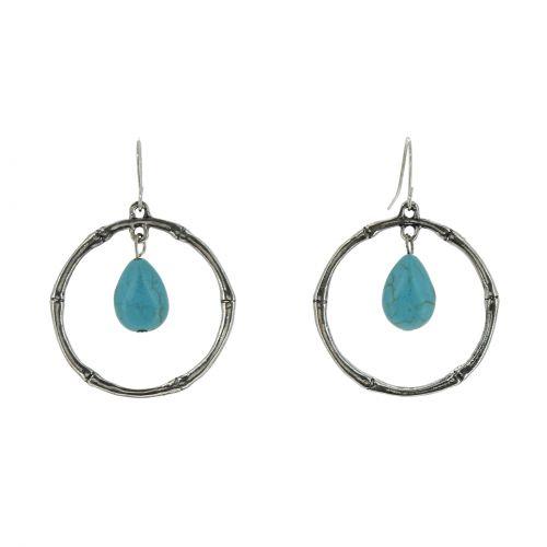 Boucles d'oreilles pendantes longues anneau à turquoise DONNA