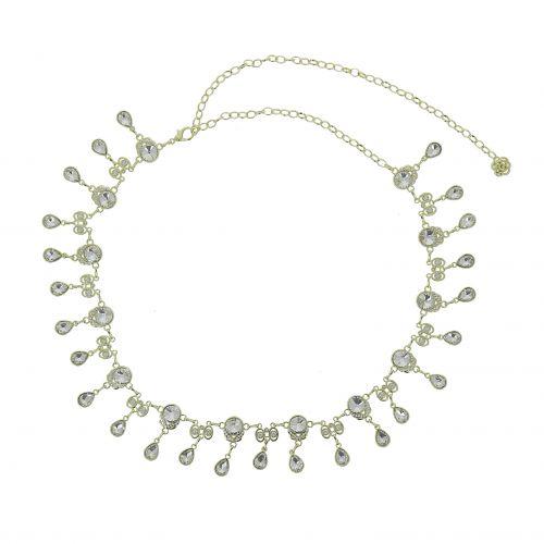 Ceinture chaîne pendantes à strass pour femme, taille réglable ALMA