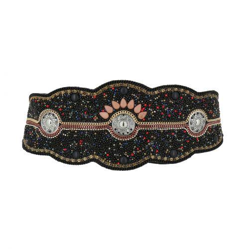 Cintura elastica larga con perline di mosaico fatto a mano, CLARISSE