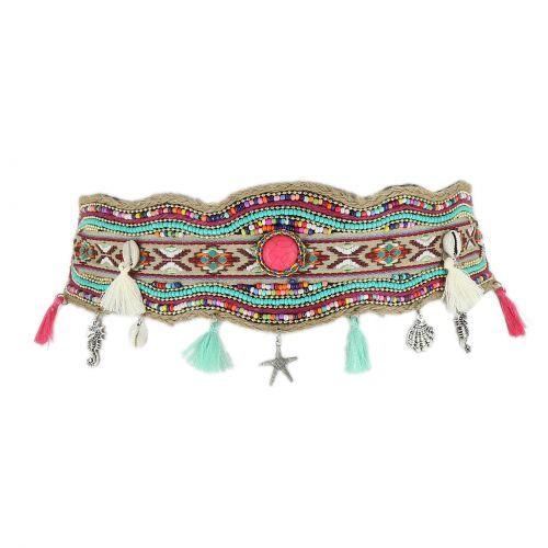 Cintura elastica larga con perline di mosaico fatto a mano, SHIRLEE