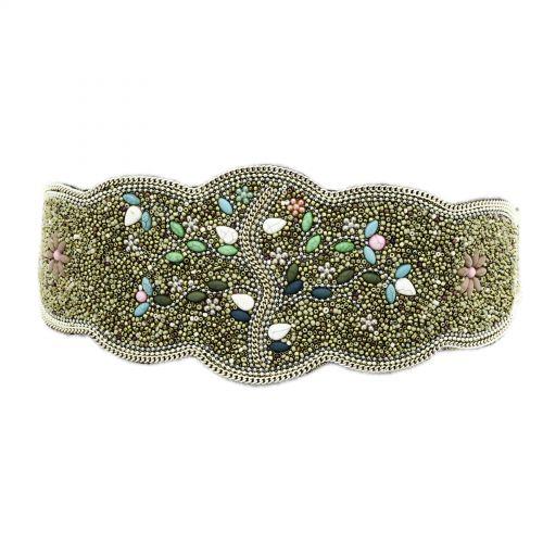 Cintura elastica larga con perline di mosaico fatto a mano, LUCILE