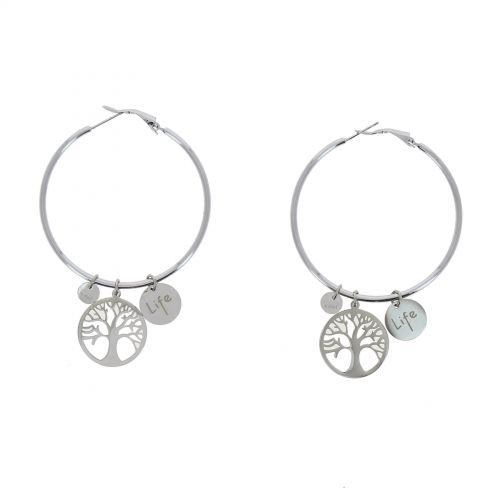 Woman earring, Tree of Life Creole earrings, stainless steel, KATHERINE