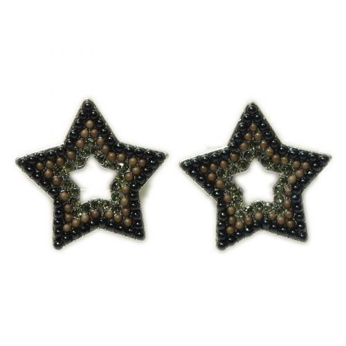Orecchini Q-26405, etnici, stella, perle