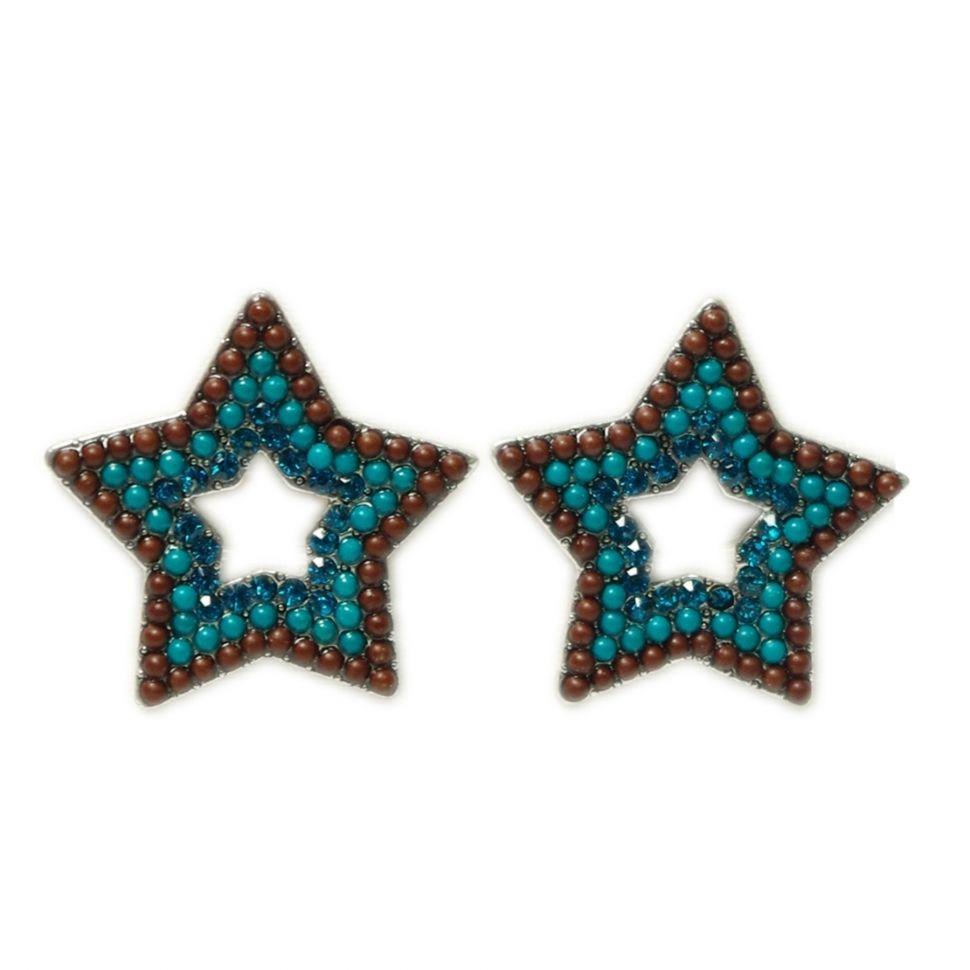 Boucles d'oreilles Q-26405, ethnique, étoile, perles Bleu azur - 1637-5376