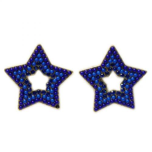 Boucles d'oreilles Q-26405, ethnique, étoile, perles