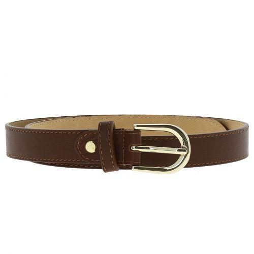 Women genuine Italian leather belt with golden Buckle, HACENA
