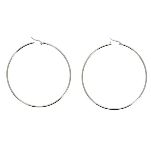 70mm rhodium Creole Earrings PRIMEROSE