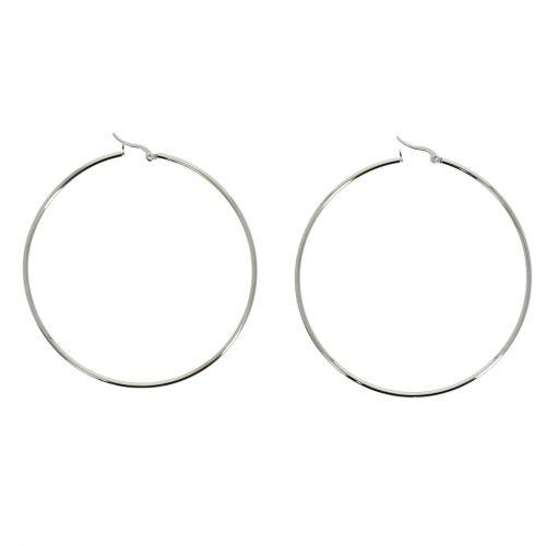 Boucles d'oreilles femme créole rhodiés 75 mm, Acier inoxydable PRIMEROSE