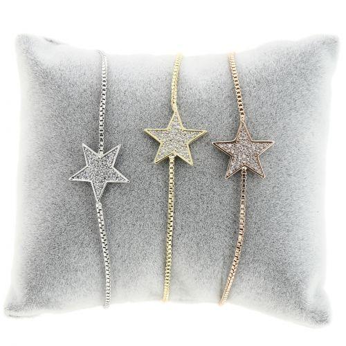 Bracelet Cubic Crystal Zirconia Gold Golden Adjustable Star for Women and Girls, FLEURY