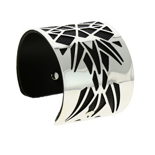 Bracelet cuff metal leatherette ANGELINA