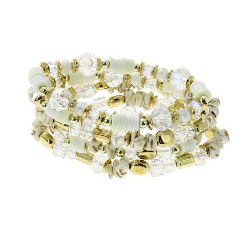 Bracelet femme ethnique extensible à perles, THEA