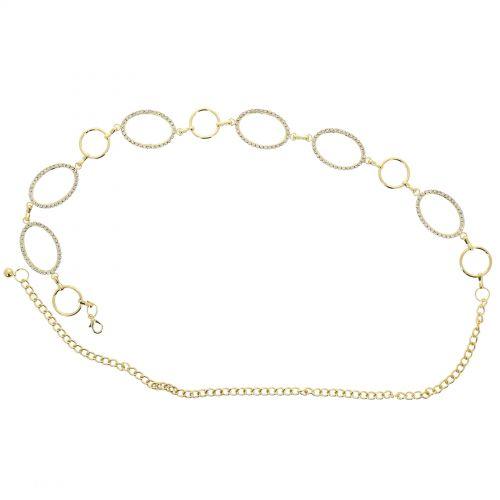 Ceinture chaîne pendantes à strass et ovale pour femme, MARGARET