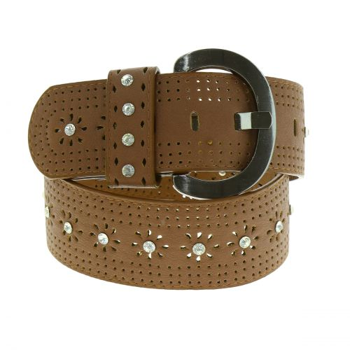 Strass wide leatherette belt, Antoinetta
